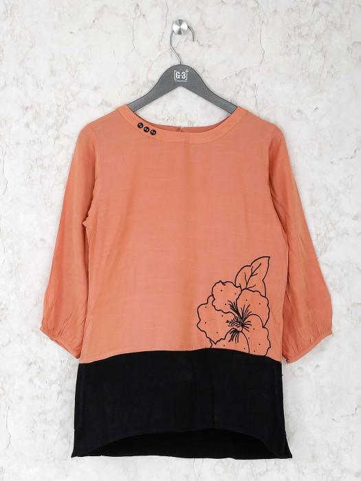 Peach Hue Pretty Casual Cotton Top