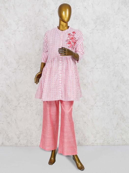 Peach Hue Punjbai Salwar Suit In Cotton