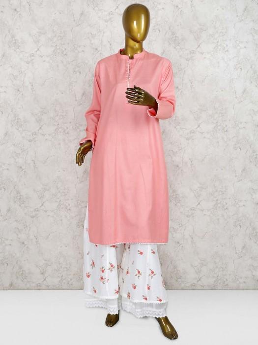 Peach Hued Cotton Fabric Punjabi Palazzo Suit