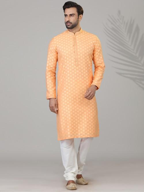 Peach Kurta Suit In Cotton Silk For Festive Days