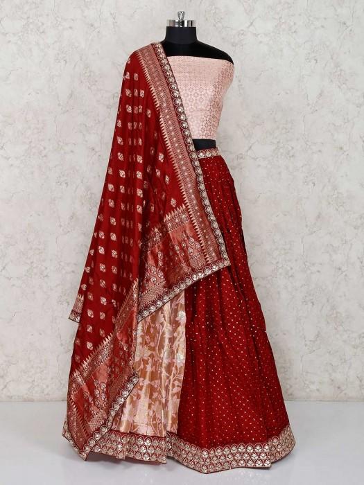 Peach Maroon Banarasi Silk Semi Stitched Lehenga Choli