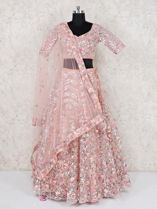 Peach Net Wedding Wear Half Sleeves Lehenga Choli