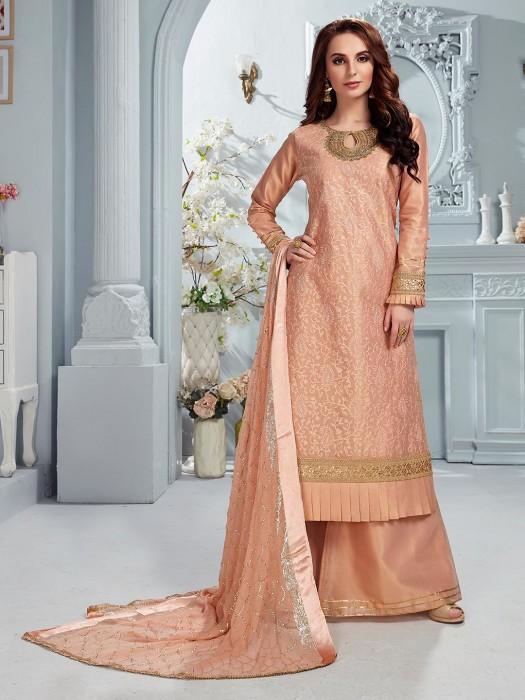 Peach Party Wear Cotton Silk Punjabi Palazzo Suit