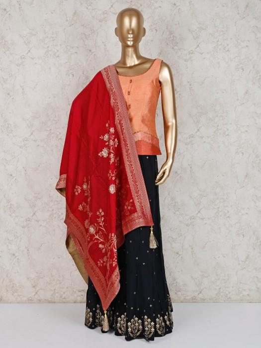 Peach Party Wear Punjabi Palazzo Suit In Raw Silk