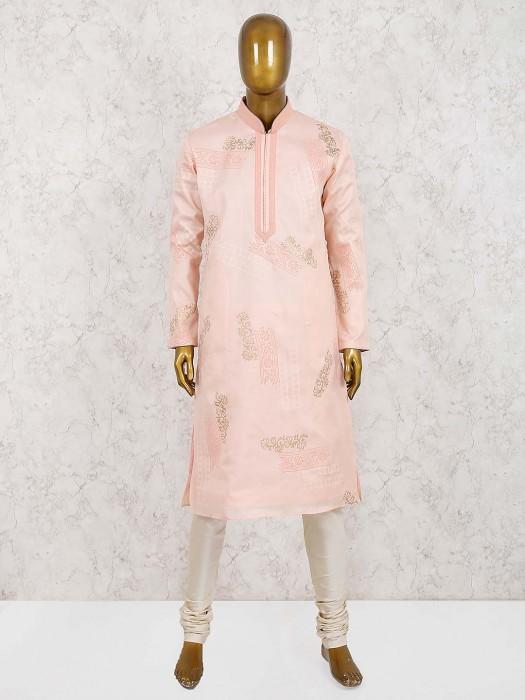 Peach Party Wear Stand Collar Pattern Kurta Suit