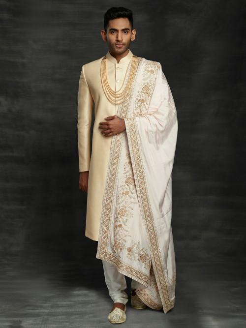 Peach Raw Silk Designer Sherwani Set
