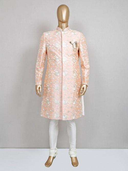 Peach Raw Silk Sherwani For Groom