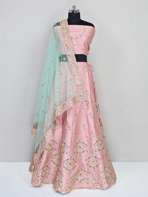 Peach Raw Silk Wedding Wear Unstitched Lehenga Choli