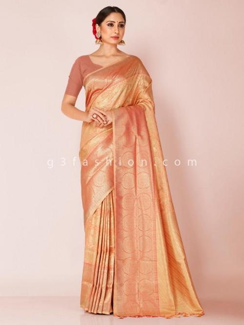 Peach Saree In Art Kanjivaram Silk