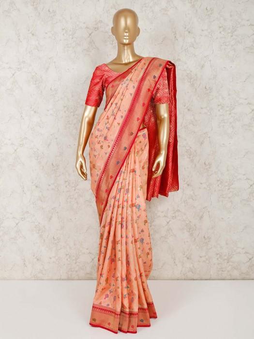 Peach Semi Silk Wedding Occasion Saree