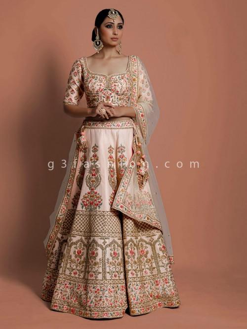 Peach Silk Bridal Wear Designer Lehenga Choli