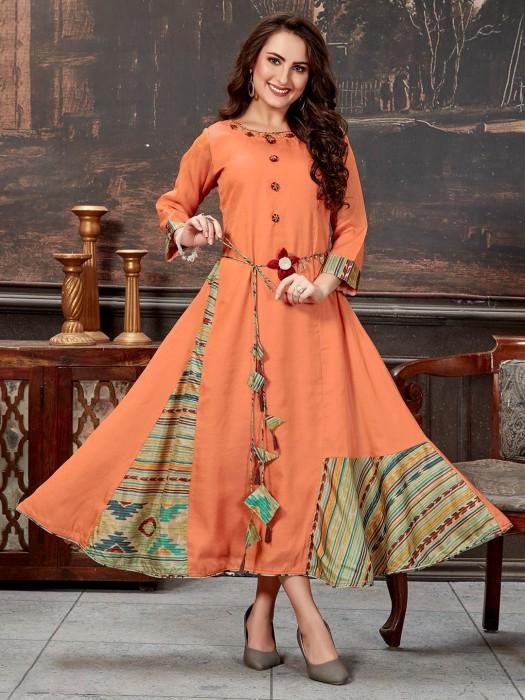 Peach Solid Festive Flair Tunic In Cotton Silk