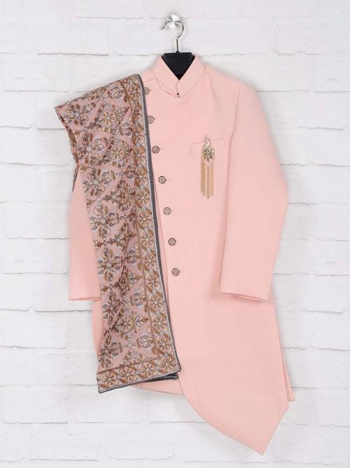 Peach Solid Wedding Wear Indo Western