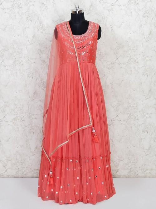 Peach Wedding Wear Georgette Anarkali Salwar Suit