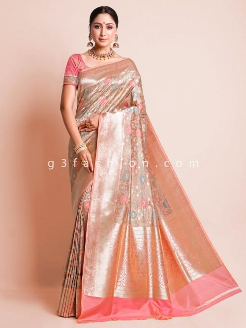 Peach Zari Inflate Wedding Saree