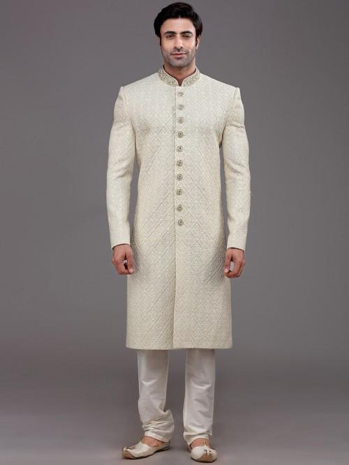 Peppy Beige Sherwani In Silk