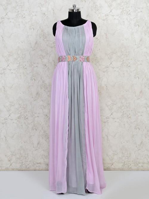 Pink And Grey Festive Wear Anarkali Suit
