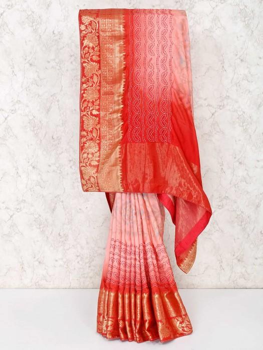 Pink And Red Semi Silk Festive Saree
