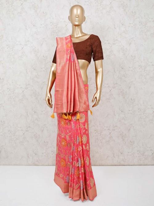 Pink Banarasi Silk Saree For Reception
