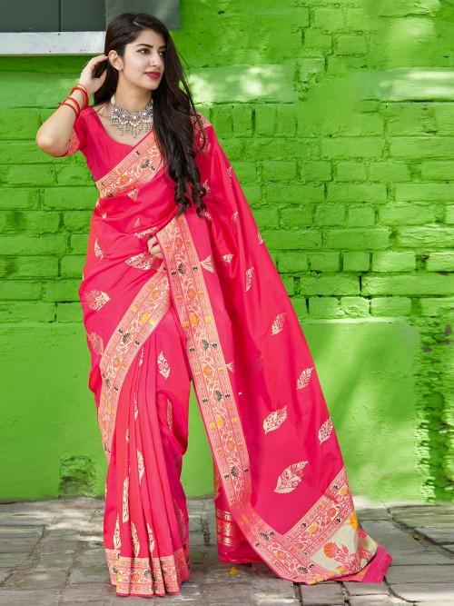 Pink Banarasi Silk Saree For Wedding Wear