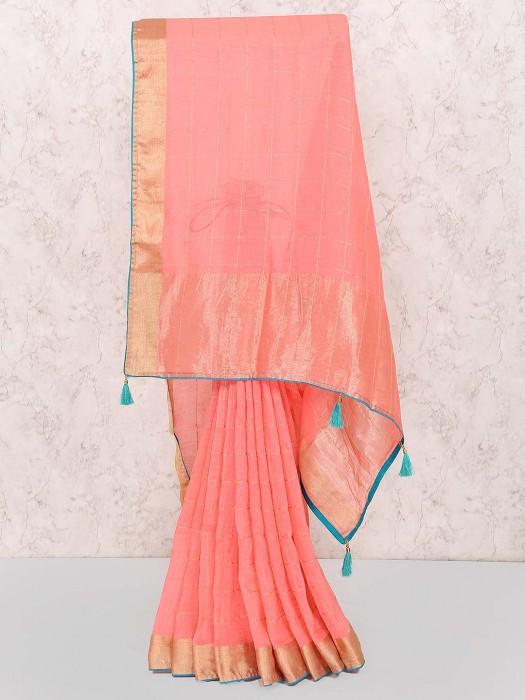Pink Color Checks Cotton Festive Wear Saree