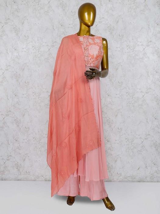 Pink Color Cotton Fabric Festive Punjabi Palazzo Suit