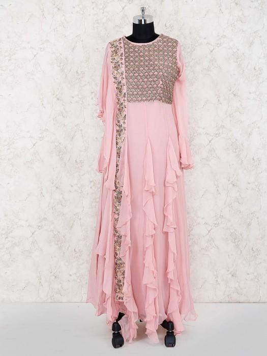 Pink Color Cotton Silk Designer Long Salwar Suit