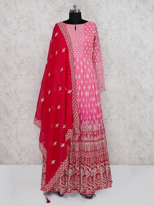 Pink Color Georgette Floor Length Anarkali Salwar Suit