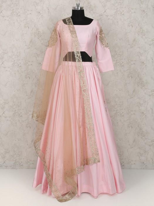 Pink Color Lehenga Choli In Silk Fabric