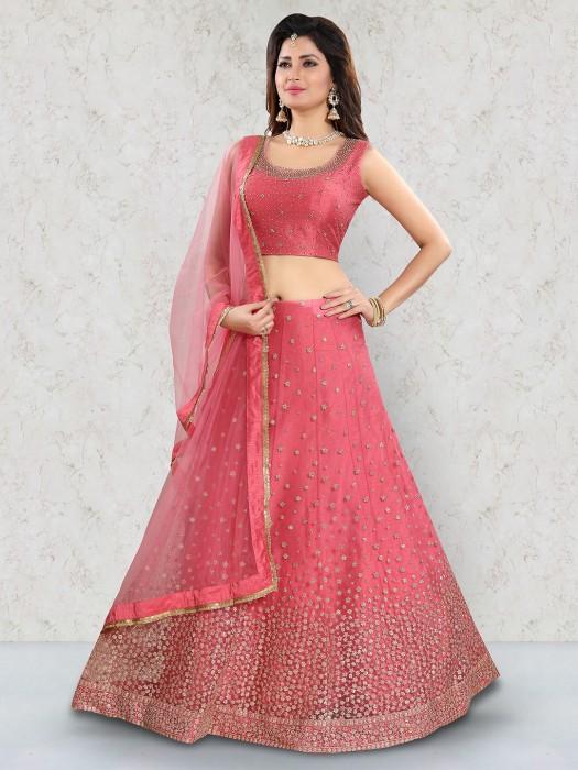 Pink Color Net Wedding Lehenga Choli