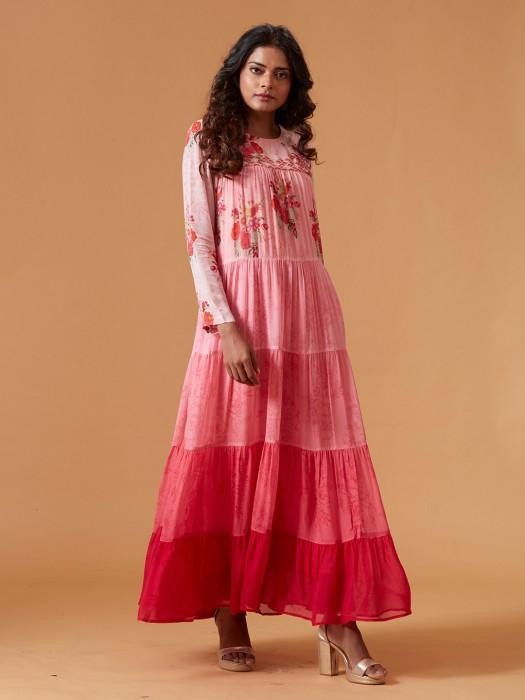 Pink Color Pure Georgette Long Kurti