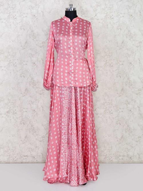 Pink Colored Bandhej Lehenga Style Salwar Kameez In Cotton Silk