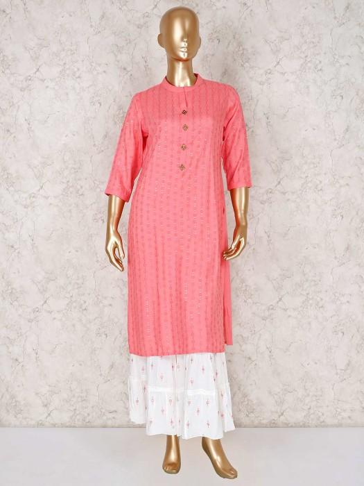 Pink Cotton Festive Function Sharara Suit