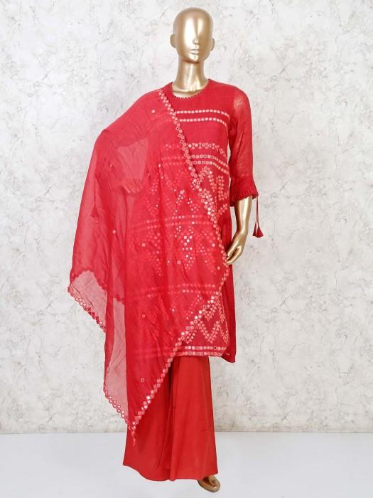 Pink Cotton Festive U Neck Punjabi Palazzo Suit