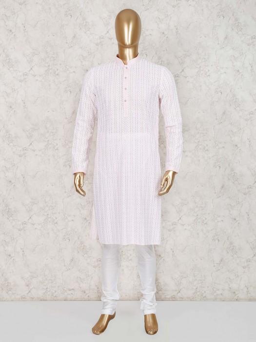 Pink Cotton Festive Wear Kurta Suit