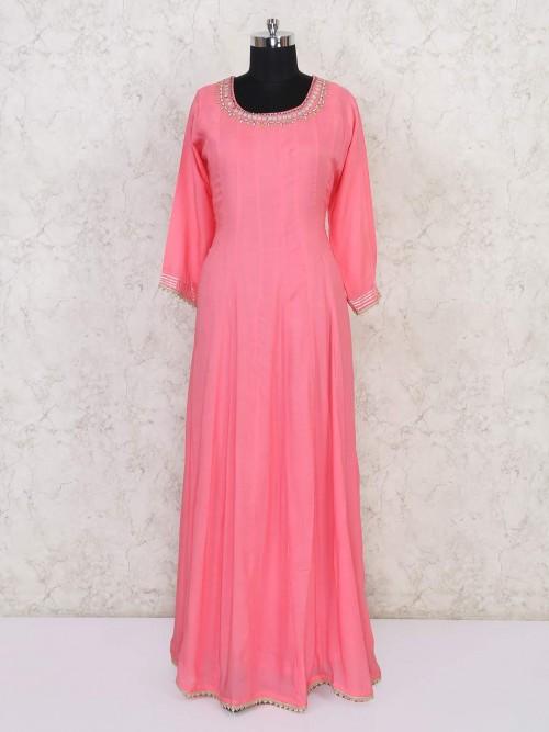 Pink Cotton Floor Length Anarkali Suit In Festive
