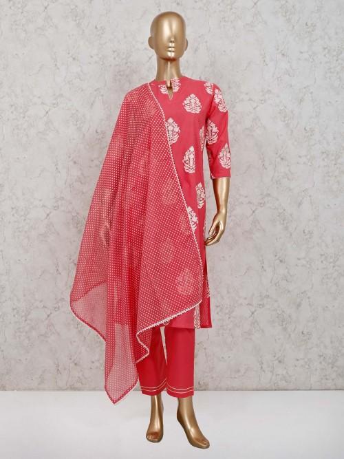 Pink Cotton Pant Style Punjabi Suit For Festive