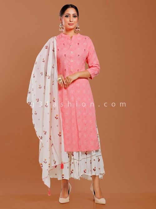 Pink Cotton Quarter Sleeves Punjabi Sharara Suit