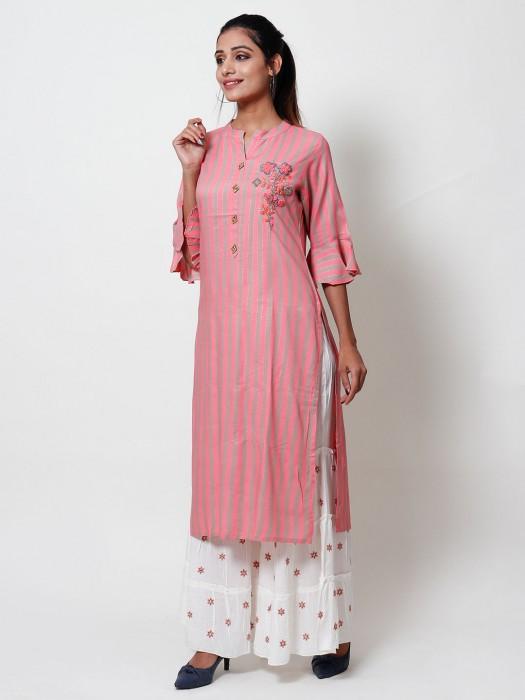 Pink Cotton Stripe Punjabi Sharara Set