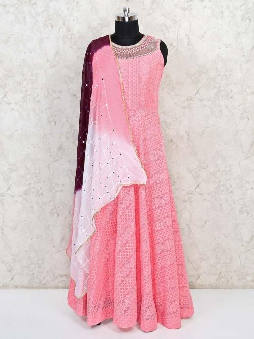 Pink Designer Lucknowi Work Anarkali Salwar Suit