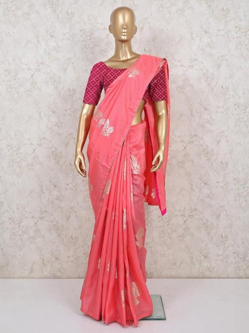 Pink Dola Silk Saree For Weddings