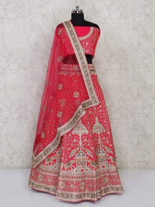Pink Embroidared Silk Semi Stitched Lehenga Choli