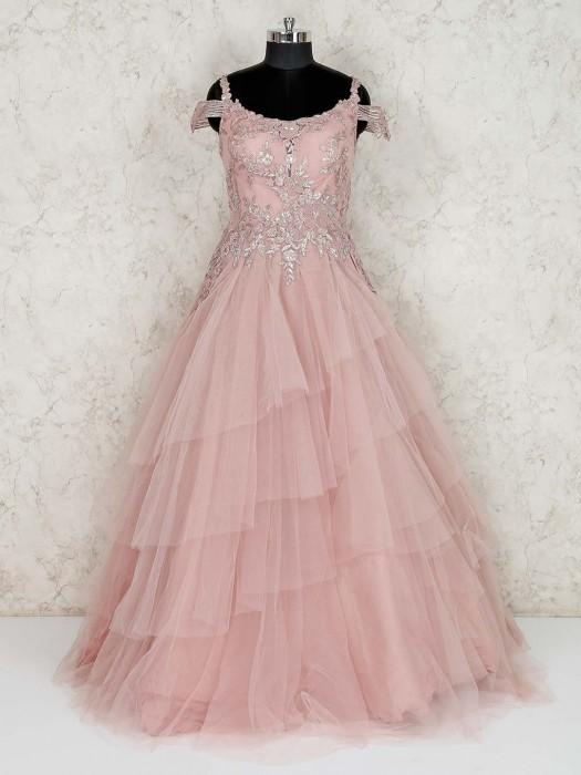 Pink Floor Length Net Wedding Wear Gown