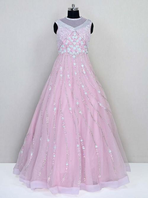 Pink Floor Length Wedding Wear Designer Net Gown