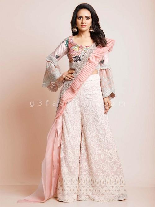 Pink Georgette Wedding Indowestern Salwar Suit