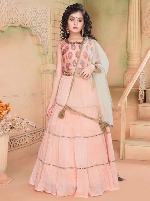 Pink Georgette Wedding Wear Girls Lehenga Choli