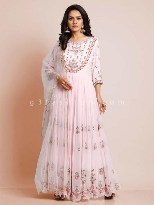 Pink Georgette Wedding Wear Salwar Suit