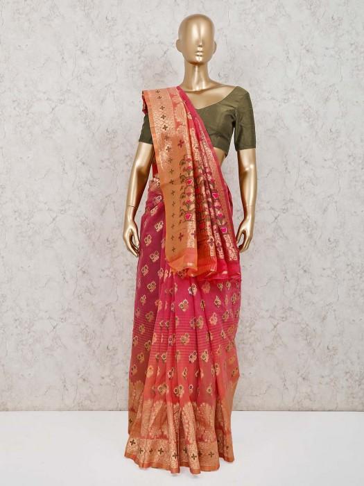 Pink Handloom Cotton Silk Saree For Reception