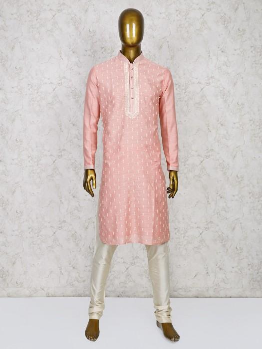 Pink Hue Cotton Silk Fabric Kurta Suit