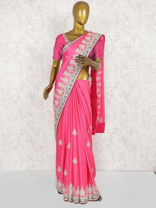 Pink Hue Pure Silk Wedding Pretty Saree